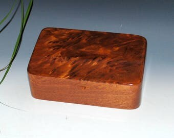 Handmade Wood Stash Box, Wood Box, Wood Jewelry Box - Redwood Burl on Mahogany by BurlWoodBox - USA Made - Small Wooden Box-Wood Boxes, Box