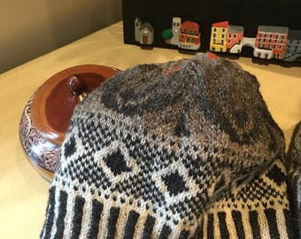 Sister Hat:  Hand knit wool tam