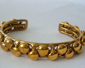 Vintage Brutalist Modernist Bronze Cuff Bracelet Dots Bubbles Unisex Gold tone.