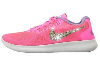NEW Bling Nike Free RN 2017 Shoes with Swarovski Crystals * Pink * Bedazzled with Authentic Swarovski Crystal Rhinestones