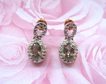 Topaz Earrings - Gold Over 925 Sterling Silver