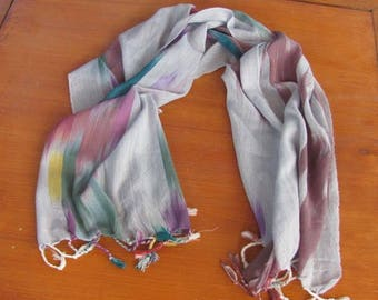 Long cotton fringed scarf with turquoise and burgundy pastels