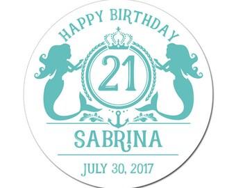 Custom Mermaid 21st Birthday Monogram Labels in Teal Blue Round Glossy Designer Stickers