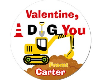 Personalized Valentines Day Stickers Contruction I Dig You Round Glossy Designer Stickers For Boys Children Kids