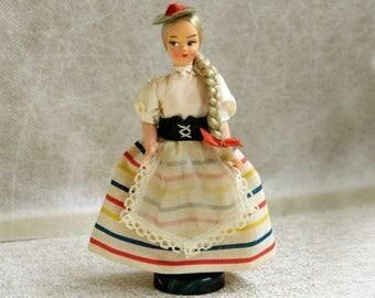 Eros Doll, Italy Display Doll, Italian Folk Costume, Sestri Levante, Liguria Souvenir, #49, Blond Braided Hair, Vintage 1970s Collectible