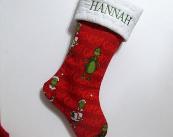 Your stocking with name embroidered - Grinch - Personalized stocking - Gifts for kids -  before Christmas - Home decor