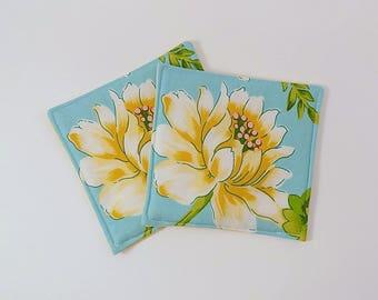 Yellow Flower Fabric Coaster Pair Mug Mats Set of Fabric Drink Coasters Colored Yellow Chevron Fabric Coasters