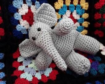 Crochet Elephant, Soft Toy, Plush, Amigurumi, Gary the Grey Elephant