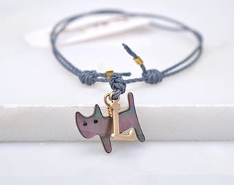 Cat friendship bracelet,mother of pearl cat,gift for cat lover
