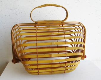 Vintage 50s Folding Collapsible Bamboo Tropical Basket Purse Hand Bag