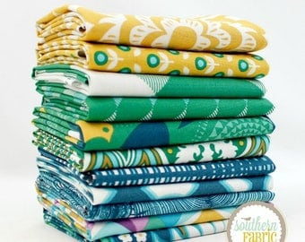 "Modernist - Emerald - Fat Quarter Bundle - 10 - 18""x21"" Cuts - Joel Dewberry - Free Spirit Quilt Fabric (JD.MO.EM.11FQ)"