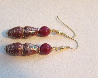 Vintage cloisonne and royal jasper beadds earrings