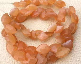 1/2 Strand,Superb-Finest Quality Peach MOONSTONE Faceted Fancy Heart Shape Briolettes, 14-8mm size,Great Item
