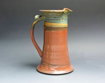 Sale-Handcrafted pottery sangria pitcher, one quart stoneware beverage pitcher brick red 4111