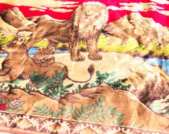 Vintage wallhanging tapestry lions and cubs