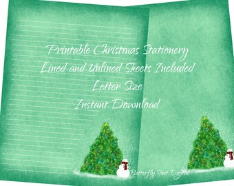 Printable Christmas Stationery, Lined and Unlined Paper, Snowman and Christmas Tree, Instant Digital Download