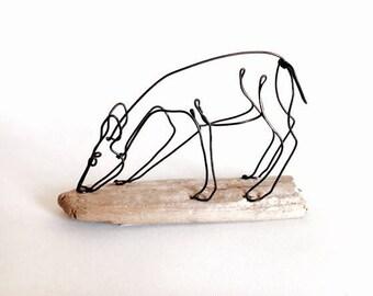 Deer Wire Sculpture, Grazing Doe Wildlife Wire Sculpture, Minimal Wire Sculpture, Deer Art, 536134842