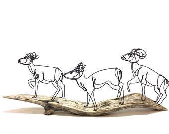 Big Horn Sheep Wire Sculpture, Rocky Mountain Sheep, Ram Wire Art, Sheep Wildlife Sculpture, 577097845