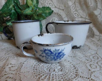 3 Enamelware Cups Mugs Small Germany Blue Roses Granite Vintage at Quilted Nest