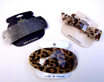 3 vintage Karina animal print themed hair barrette celluloid hair accessory hair clip hair slide hair ornament (ACU)