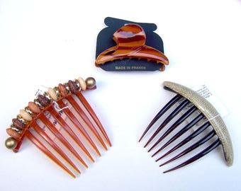3 vintage Karina ethnic themed hair barrette hair comb celluloid hair accessory hair clip hair slide hair ornament (ACX)