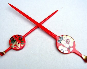 Two vintage Japanese Kanzashi hair pins Geisha hair pick hair fork hair accessory hair ornament (AAC)