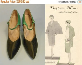 Anniversary Sale 35% Off Bootlegging Flapper - Vintage Black & Green Silk Pointed Evening Heels Shoes w/Gem Buckle - 7.5/8