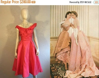 Anniversary Sale 35% Off Suzy & Dorian Prance About - Vintage 1950s Bright Coral Pink Gathered Gown w/Back Skirt Panels - 4