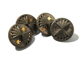 Victorian Buttons Mirror Back Twinkle Antique Buttons Victorian Four (4) Buttons Victorian Wedding Jewelry Sewing Reenactment Supplies (S212