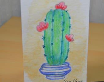 Original ACEO Watercolor Painting - Blooming Cactus