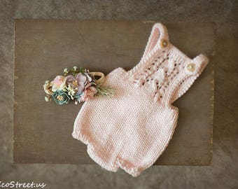 Newborn Romper and Flower Headband Set, PInk Romper, Aqua and Pink  Headband, Baby Romper, Newborn Props, Baby Props, RTS Props