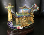 Peacock Cloisonne Figurine on Wooden Stand