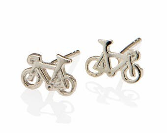 Dainty Silver Bicycle Earrings , Triathlon Gifts Jewelry, Bicycle Stud Earrings , Stocking Stuffer , 925 Sterling Silver Owl Jewelry