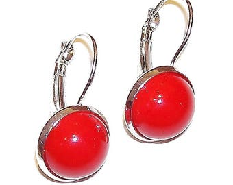 Lever Back Gemstone Earrings - Red Jade