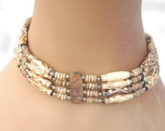 Carved Wood Triple Strand Choker Necklace