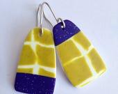 Statement earrings - Polymer clay earrings dangles - Asymmetric dangle earrings - Green long earrings - purple asymetrical earrings