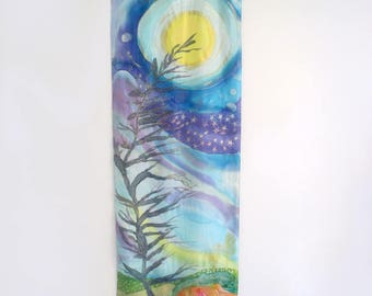 Silk Art Wall Hanging Or Silk Shawl, Hand-Painted, One of a Kind By Artist
