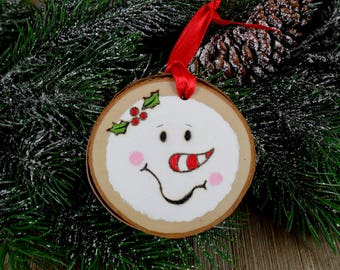 Snowman Ornament Wood Burned Birch Tree Slice - Christmas - Hand Burned Painted Candy Cane Nose