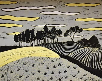 Linocut of 'Chanctonbury Ring' direct from Sue Collins Art. Limited Edition of 6.