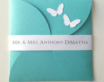 6 1/4  x 6 1/4 Petal Butterfly Invitation - Pack of 10 w/RSVPs