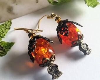 Orange and Bronze Victorian Drop Earrings