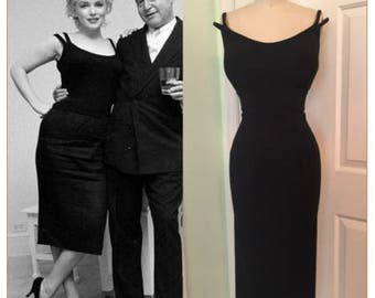 Marilyn Double Strap Wiggle Dress- Pinup Sexy Scoop Neck 1950s Little Black Dress  Made to Order