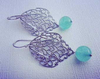 Ox Silver Filigree And Green Glass  Earrings