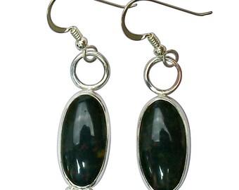 Bloodstone and Sterling Silver Dangle Earrings  ebsf2847