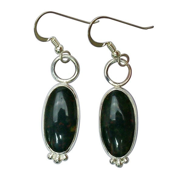 Bloodstone and Sterling Silver Dangle Earrings  ebsf2847