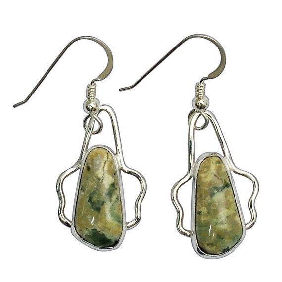 Earrings, Rainforest Jasper Dangle Earrings Set in Sterling Silver  erfje2964