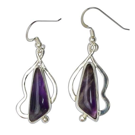 Earrings, Amethyst Dangle Earrings Set in Sterling Silver  eamte2958
