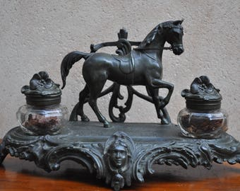 Antique French Double Inkwell Desk Set Equestrian Theme