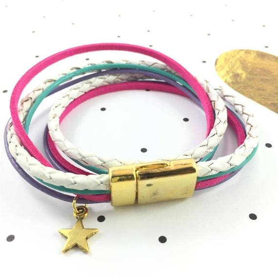 Leather, magnetic, magnet, gold, bracelet, white, pink, turquoise, lilac, star, charm, choker necklace, magnet, les perles rares