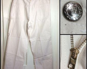 1970's white canvas carpenter work painter's pants 38x30 Universal Stone Cutters Chicago Talon zipper